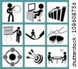 organization development, business management and human resource management icon set - stock photo