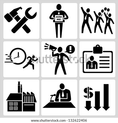 organization, human resource and trade union sign set