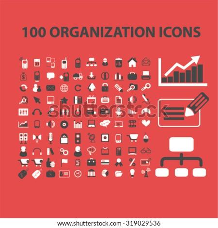 organization icons - stock vector