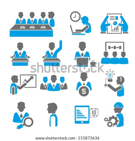 organization management, business management icons set - stock vector