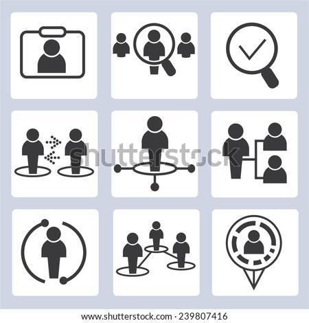 organization management, business management icons set - stock vector