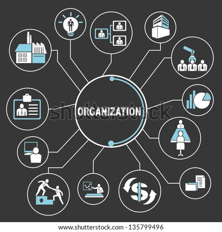 organization mind map, info graphic - stock vector