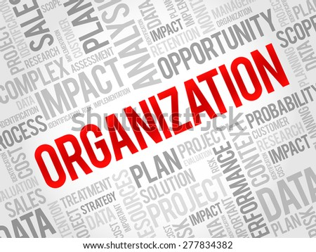 ORGANIZATION word cloud, business concept - stock vector