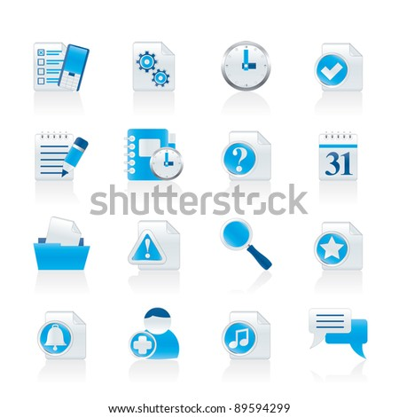 Organizer, communication and connection icons - vector icon set - stock vector