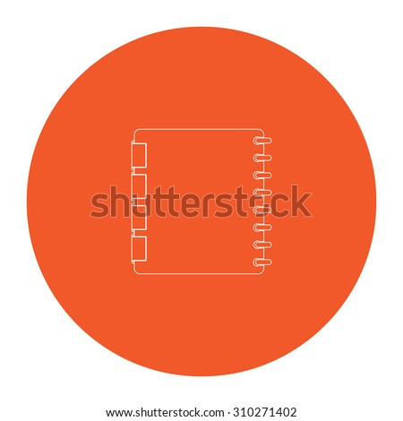 Organizer. Flat outline white pictogram in the orange circle. Vector illustration icon - stock vector