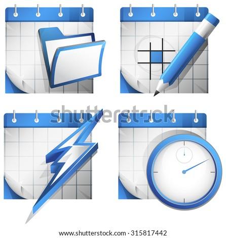 Organizer Icon Set - Illustration - stock vector