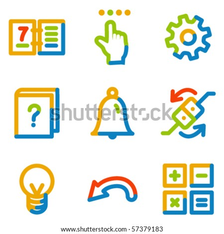 Organizer icons, colour contour series - stock vector