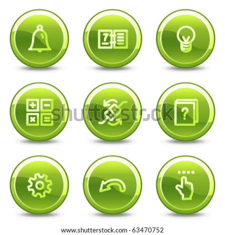 Organizer icons , green circle glossy buttons - stock vector