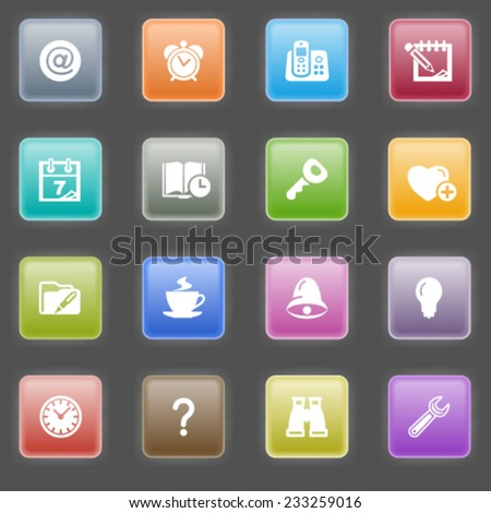 Organizer icons with color buttons on black background.