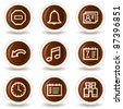 Organizer web icons, chocolate buttons - stock vector