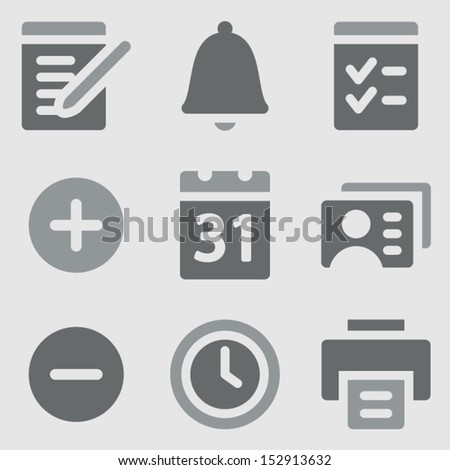 Organizer web icons grayscale icons - stock vector