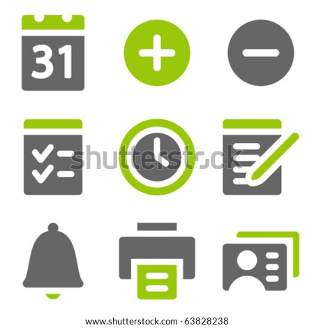 Organizer web icons, green grey solid icons - stock vector