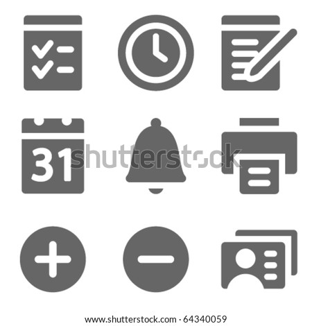 Organizer web icons, grey solid series - stock vector