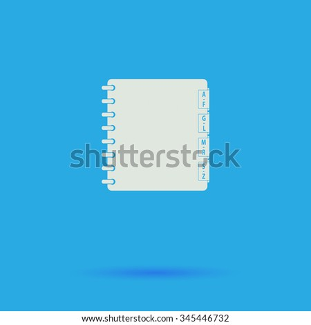 Organizer White flat vector simple icon on blue background with shadow  - stock vector