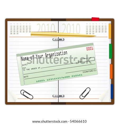 Organizer with pen and cheque book - an illustration for your design project. - stock vector
