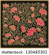 orient floral decor with pomegranate flowers - stock