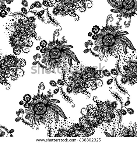 Orient Wallpaper Pattern Seamless Zentangle Calico Stock Vector