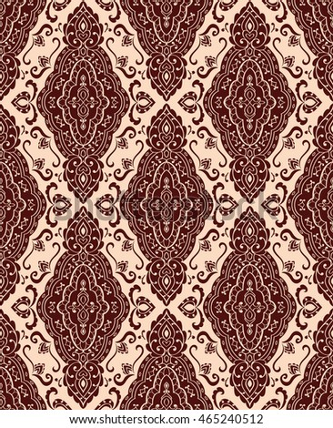 Oriental abstract ornament. Templates for carpet, textile, shawl and any surface. Seamless vector pattern of brown contours on a beige background.