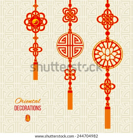 Oriental Asian red and golden tassel decorations. Lotus image, yin yang symbol and knot elements. Stamp with a Chinese hieroglyph for 'joy'. Asian seamless background with knot compositions. Vector - stock vector