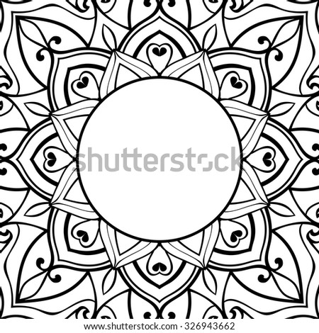 Oriental, black-white frame. Background with ornaments and place for text. Vector card. Book cover, vinyl cover, CD, DVD cover. - stock vector