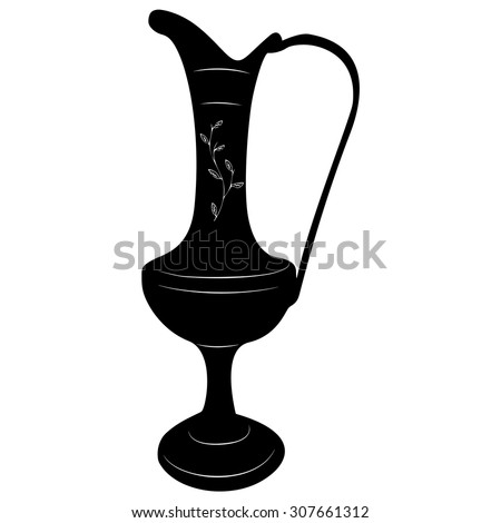 Oriental brass pitcher vase stylized vector illustration in black and white.