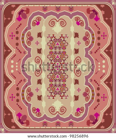 Oriental carpet with floral motifs - stock vector