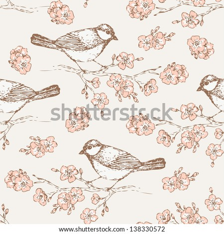 Oriental cherry pattern with bird. Vintage floral seamless background with titmouse for your design and scrapbooking - stock vector