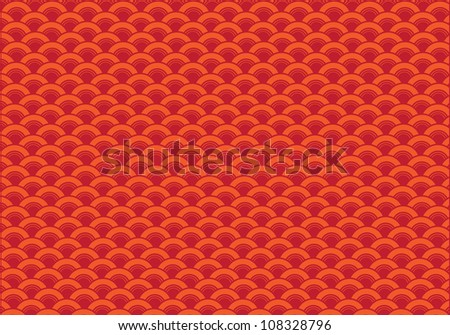 Oriental curve wave red background. - stock vector