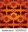 Oriental elephant and lotus seamless pattern background - stock photo
