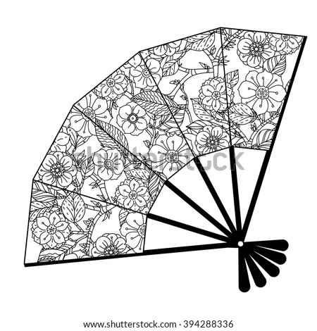 Oriental fan decorated with floral patterns  Black and white. Vector illustration. The best for your design, textiles, posters, coloring book - stock vector