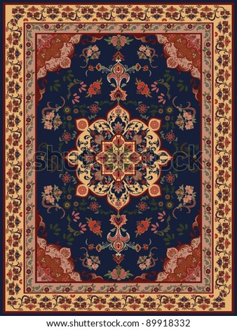 Oriental Floral Carpet Design - stock vector