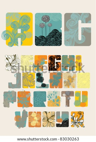 oriental floral font vector/illustration - stock vector