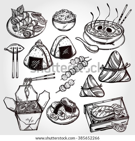 Oriental foods Set. Poster in linear style. Isolated vector illustration. Hand drawn elements of Chinese. Japanese, Vietnamese, Taiwanese and Thai cuisine . Menu template for restaurant or take out.  - stock vector