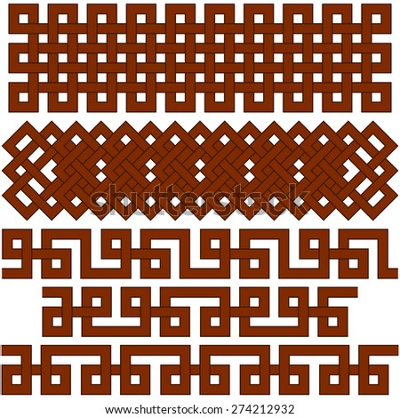 Oriental geometrical seamless borders. Suitable for  creating pattern brushes. - stock vector
