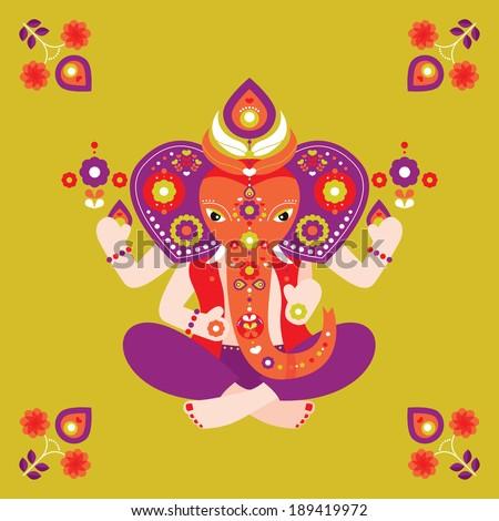 Oriental India Ganesha elephant postcard cover design illustration in vector - stock vector