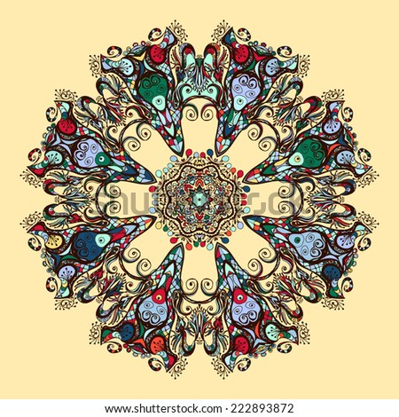 Oriental mandala motif round lase pattern, like snowflake or mehndi paint of vibrant color - stock vector