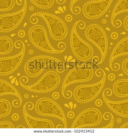 Oriental paisley seamless background - stock vector