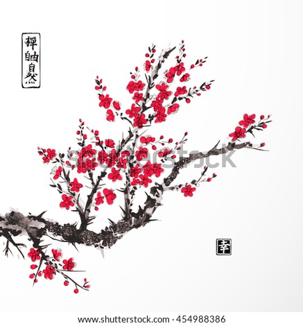 Oriental sakura cherry tree in blossom on white background. Contains hieroglyphs - zen, freedom, nature, happiness. Traditional oriental ink painting sumi-e, u-sin, go-hua.  - stock vector