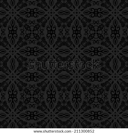 Oriental seamless vector pattern with damask, arabesque and floral elements. Abstract background