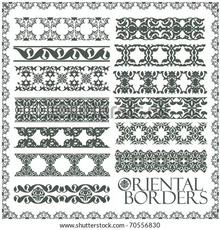 Oriental style ornament elements. All components are easy editable and can be assembled. - stock vector