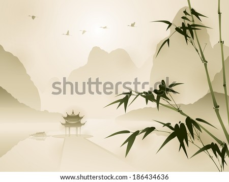 Oriental style painting, Bamboo in a beautiful scene - stock vector