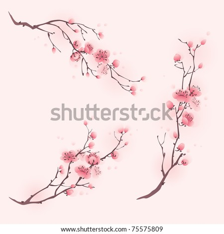 Oriental style painting, cherry blossom in spring, three different compositions.