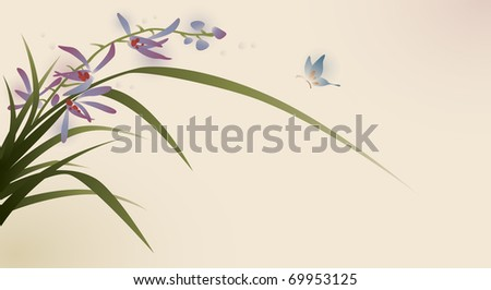 oriental style painting, flowers and butterfly - stock vector