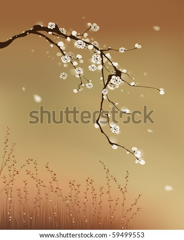 oriental style painting, plum blossom Wind blowing white plum blossom tree. Vectorized brush painting. - stock vector