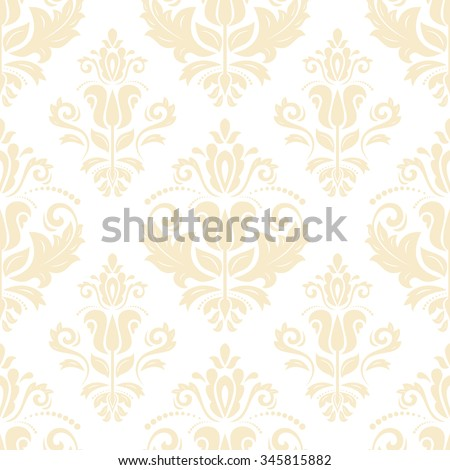 Oriental vector classic light yellow ornament. Seamless abstract pattern - stock vector