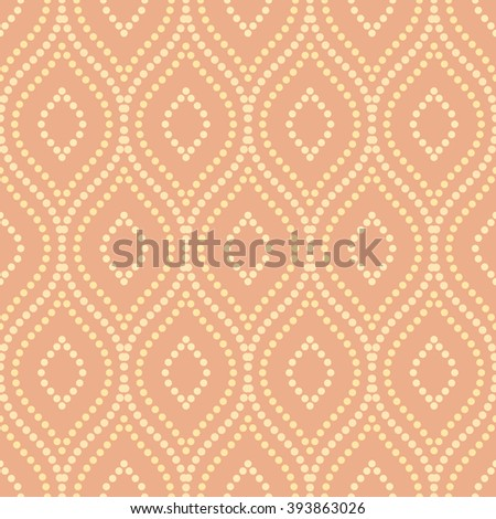 Oriental vector colored classic ornament. Seamless abstract background with repeating dotted wavy lines - stock vector