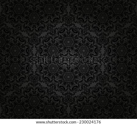 Oriental vector dark pattern with damask, arabesque and floral black elements. Seamless abstract background