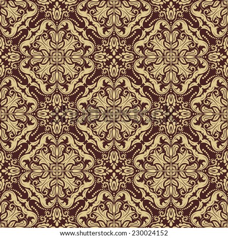 Oriental vector golden pattern with damask, arabesque and floral elements. Seamless abstract background