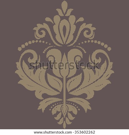 Oriental vector pattern with arabesques and floral elements. Traditional brown and yellow classic ornament