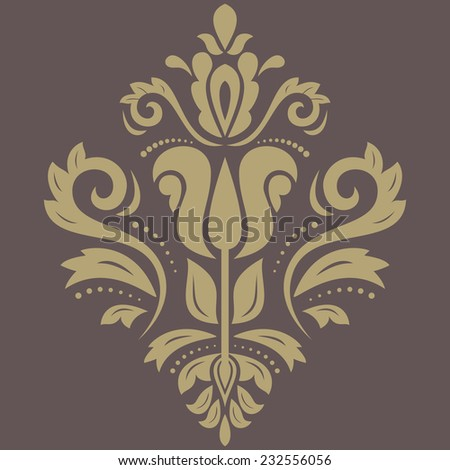 Oriental vector pattern with damask, arabesque and floral elements. Abstract fine ornament - stock vector